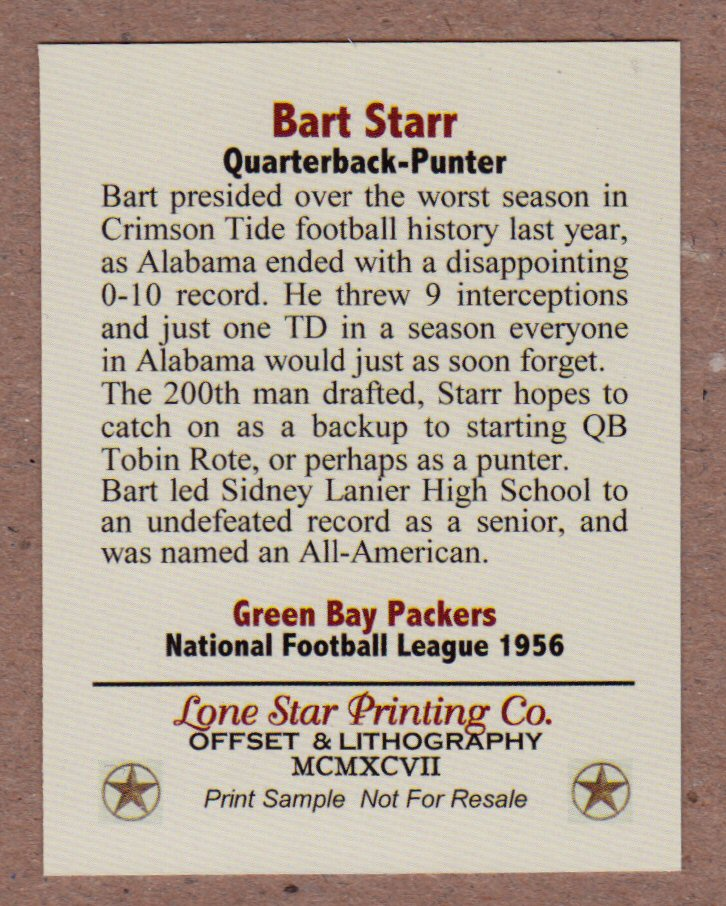 Bart Starr Rookie Season 1956 Green Bay Packers Cards
