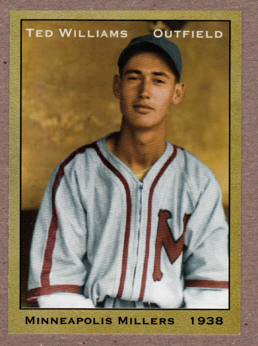 Ted Williams 1938 Minneapolis Millers Minor League Card Cards